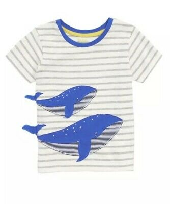 MINI BODEN Baby Boys 3-6 Months Short Sleeve Striped Whale Cotton Shirt NEW