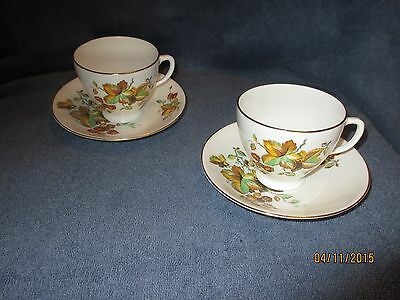 Tudor Fine Bone China Tea Cup and Saucer from England Set of 2 Each