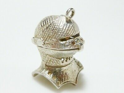 Sterling Silver Knight Helmet 3D Armor Medieval Mens Womens Charm Pendant