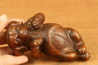 chinese old boxwood hand carved lovely dog figure statue netsuke collectable