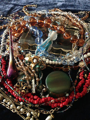 Jewelry Lot 4 - VINTAGE Art Deco Beads Amber Jade Red Turquoise Gold Antique