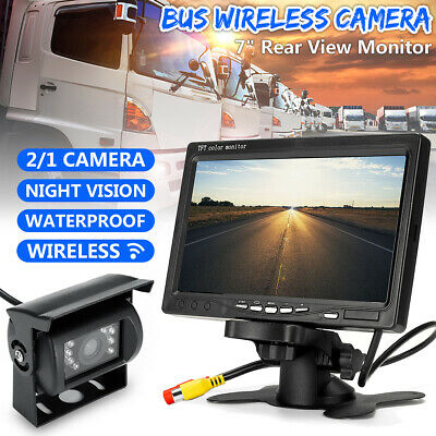 """Wireless Rear View Backup Night Vision Camera + 7"""" Monitor Kit for RV Truck Bus"""