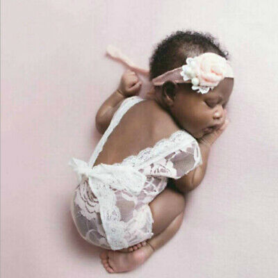 a1312475a Baby newborn kid photography props overalls princess lace bow clothes