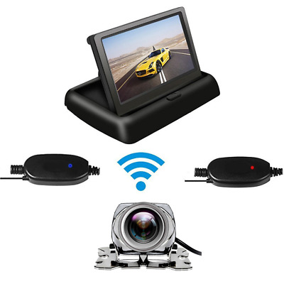 "Wireless 4.3"" TFT LCD Car Rear View Foldable Monitor Display+CMOS Parking Camera"