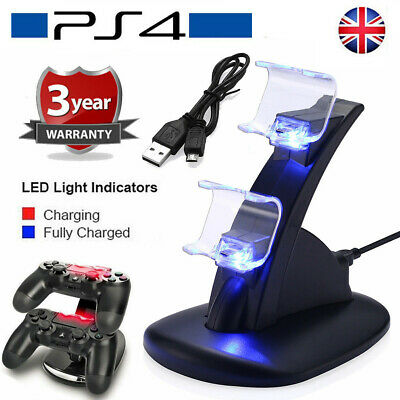 PlayStation PS4 Controller LED Charger Dock Station Dual USB Fast Charging NEW