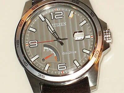 Citizen AW7039-01H Men's Eco-Drive PRT Leather Band Power Reserve Watch