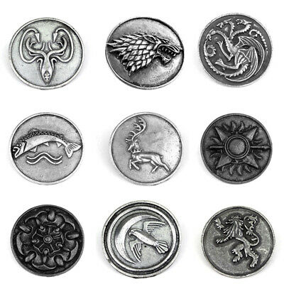 Game of Thrones House Logo Pins Targaryen Stark Lannister Badge Brooches