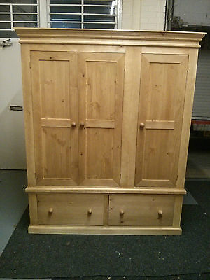 Pine Furniture Victorian Range Triple 2 Jumper Drawer Wardrobe Antique Handwax
