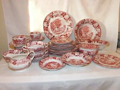 Vintage Enoch Wood's English Scenery*40 pc lot*Wood&Sons*England*Woods Ware*Pink