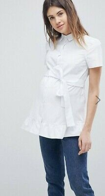 NEW Asos Maternity Exclusive Tie Front Frill Top, White, Size UK18... RRP $50.95