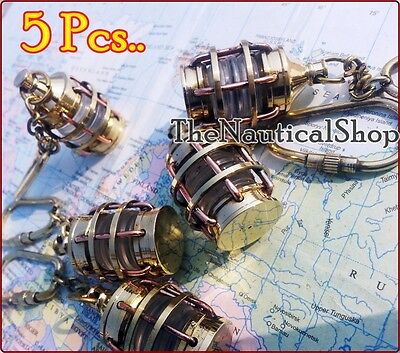 Lot 5 Nautical Lamp Keychain Brass copper Antique Vintage Gift Party Decor Gift