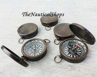 Vintage Compass Nautical Lot 10 Solid Brass Maritime Antique Pocket Compass Gift