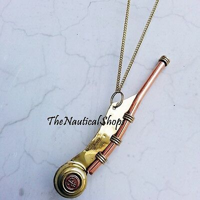 Bosun Call Pipe Whistle with Chain Brass Copper New US Navy Reproduction Gift