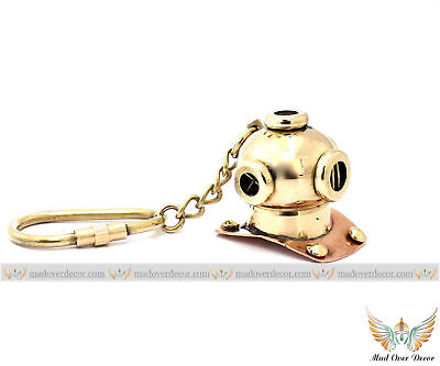 Brass Collectible Marine Diver Helmet Key chain Maritime Ship Captain Key Ring
