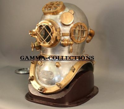 Vintage Brass Diving Divers Helmet Steel Antique Mark V Full size w Wooden Base