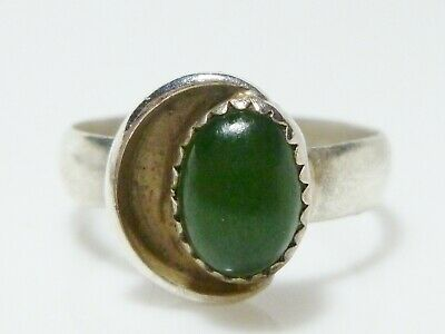 Sterling Silver Jade Jadeite Modern Modernist Solitaire Womens Ring Band Size 8