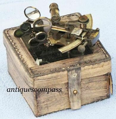 Antique Sextant with Leather Box.Style Solid Brass Ship Handmade style gift