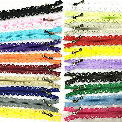 50Pcs 16inch Lace Closed End Zippers 3# Nylon For Purse Bags Multicolor Sewing