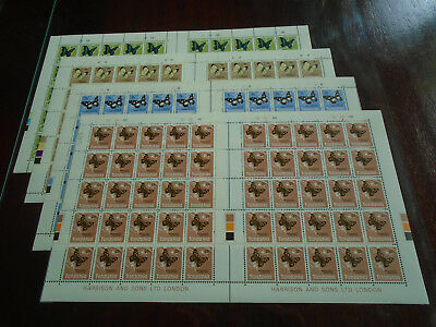 TANZANIA 1973 BUTTERFLY Issue FOUR VALUES in HALF SHEET of 50's MNH.