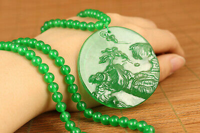 antique AA Chinese Collectible Rare Natural Green Jadeite Jade Landscape Pendant