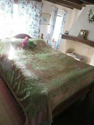 BEAUTIFUL ANTIQUE FRENCH FLORAL SATIN BED COVER ~ WITH BOBBLE TRIMS EARLY 1900's