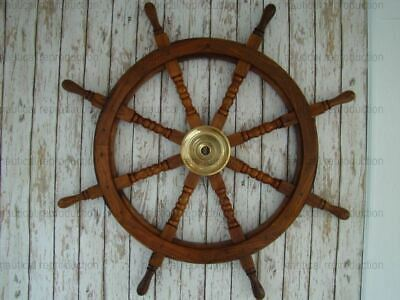 """36"""" Large Boat Ship Wooden Steering Wheel Brass Center Nautical Wall Decor"""