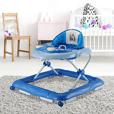 HOMCOM Baby Walker Folding Toddler First Steps Learnig Car Adjustable Blue