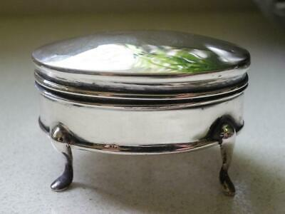 Sterling Silver Velvet Lined 3 Legged Hinged Trinket Box - Birmingham 1908