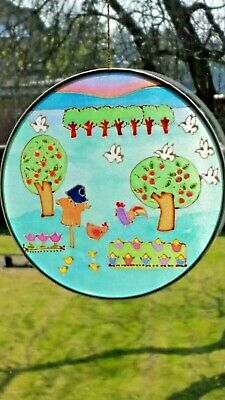 Hand-painted Silk Sun catcher 15cm Across- Farm, original.