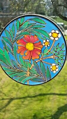 Hand-painted Silk Sun catcher 15 cm Across - Daisies, one-off.