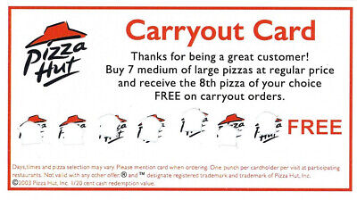 4 Pizza Hut Free Carry-Out Pizza