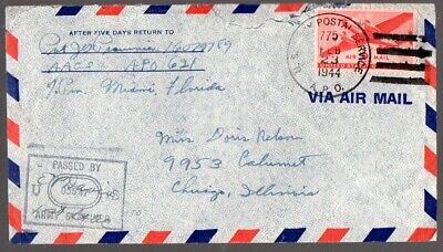 Morocco: 1944 US Military cover to Chicago from US APO 621
