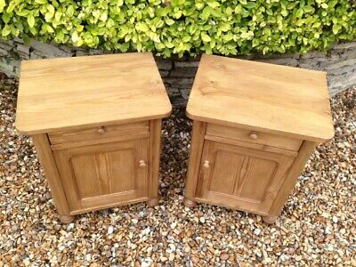 Lovely Pair of Edwardian Antique Solid Pine Bedside Cabinets