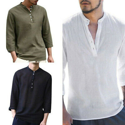 Summer Men Casual Solid Shirts V Neck Linen Breathable Pullover Wear Shirt Tops