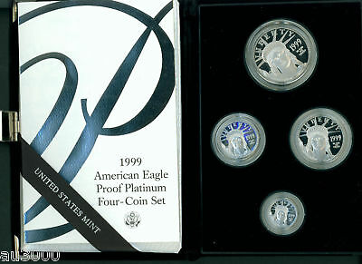 1999-W 4-Coin Set Proof Platinum Eagle Statue Liberty $100 $50 $25 $10 Box & Coa