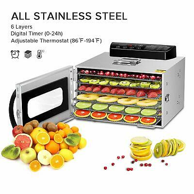Stainless Steel 6 Layers Food Dehydrator, 30~90°C Temperature Setting, Max 24h
