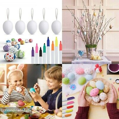 50Pcs Easter Eggs+8 Color Pens Set For Kids DIY Painting Toy Decoration Gift