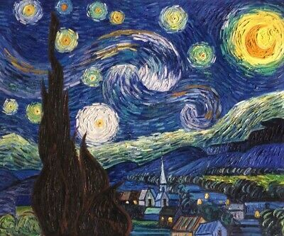 36x48 STRETCHED MUSEUM QUALITY Oil Hand-painted Starry Night II Van Gogh