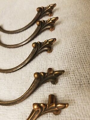 Vintage French Provincial Copper Style Drawer Pulls Cabinet Handles Lot of 5