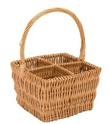 W and S Wickers and Straw 4-Compartment Wine Gift Basket