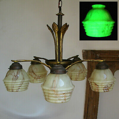 ANTIQUE 30's ART DECO VASELINE GLASS CHANDELIER CEILING LIGHT SLAG MARBLED SHADE