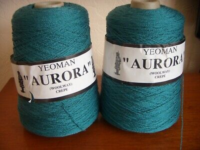 2cones yeoman Aurora 4 ply 30%wool in teal colour/opal