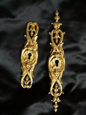 Two Antique French Bronze Ormolu Key Escutcheon Plates