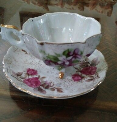 RELCO Hand Painted 3 Legs Porcelain TeaCup & Saucer Set Floral Pattern -Gold Rim