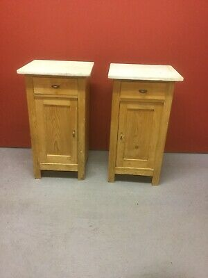 Pair Antique Pine Marble Top Bedside Cabinets Sn-462a
