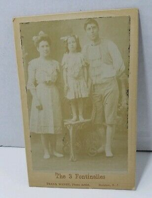 THREE FONTINELLES ANTIQUE CIRCUS Hire Wire Acrobat Wendt CABINET CARD Photo 1892