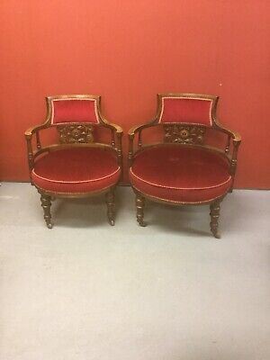 Antique Pair Of Upholstered Tub Chairs Sn-279a