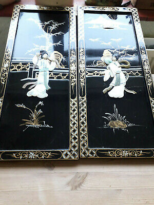 Pair of chinese/japanese(?) lacquer and shell pictures,24 x 10 inches