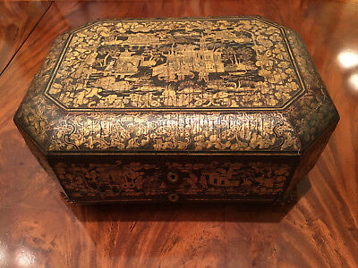 A Rare and Large Chinese Antique Lacquer Sewing Box. 19th C.