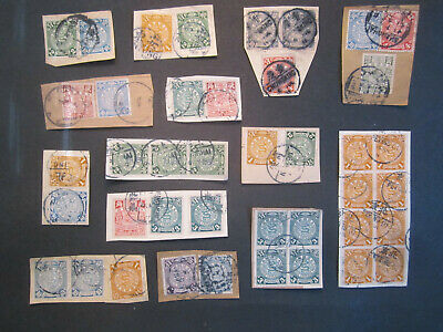 41 x Coiling Dragon Stamps on Cover Parts, Chinese Imperial Post ca.1910 China